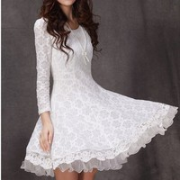 Lace One Piece Dress 031118 Color White Size XXL