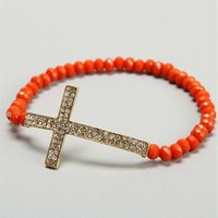 Orange Beaded Cross Bracelet