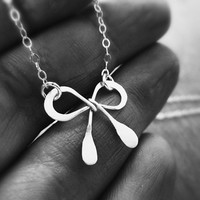 Sterling silver bow necklace - minimalist jewelry - everyday jewelry - dainty necklace - simple necklace - ribbon necklace