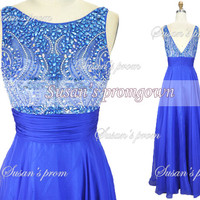 2014 Prom Dress,Straps Beads Crystal Chiffon Dresses,Evening Dress,Evening Gowns,Wedding Dresses,Formal Dress