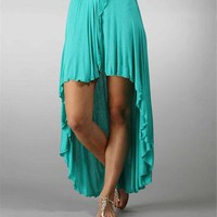 Mint Hi Low Hem Wrap Skirt