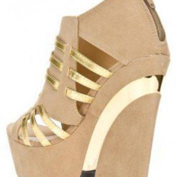 CUT OUT PLATFORM FAUX SUEDE UPPER WEDGE-Wedges-wedge heels,leopard wedges,suede wedges,Sexy wedges,white wedges,black wedges,sexy wedges,Silver Wedge