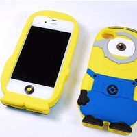 Despicable Me 2 Minions Henchmen Soft Silicone Case Cover Cell Phone Scrub Case for Iphone5 5s (one eye)