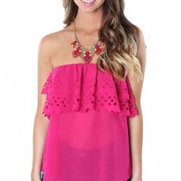 Magenta Ruffle Cutout Top