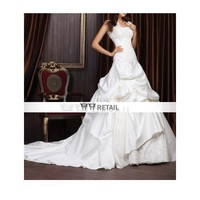 Ball Gown Dropped Waist Chapel Train Satin Lace Wedding Dress With Wrap (TBGWD003) - Ball Gown - Wedding Dresses
