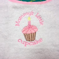 Bib Mommys Little Cupcake Birthday Candle White Pink Embroidered | PinkCloudsAndBabyBlue - Children