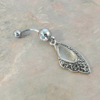Belly Button Ring with Butterfly Wing