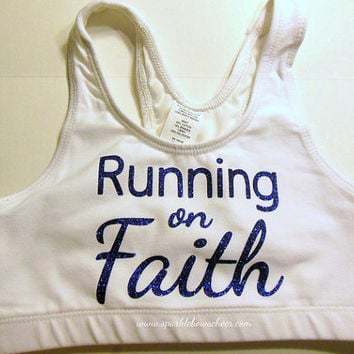 Running on Faith Cotton Sports Bra Yoga, Running, Working Out, Marathon