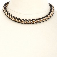 BRAIDED FAUX SUEDE & CHAIN CHOKER NECKLACE