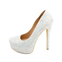 DIAMOND PRINCESS RHINESTONE PLATFORM PUMPS