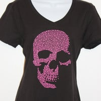 Women's Pink Stud Skull V-neck black or white T-shirt, Bling tee