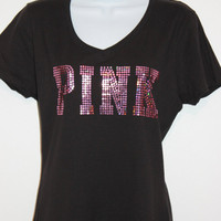 Women's PINK sequin V-neck black or white T-shirt, Bling tee