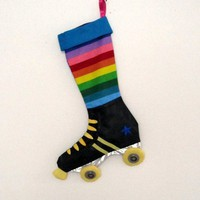 Derby Skate Christmas Stocking Rainbow by creationzbycatherine