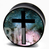 10g (2.5mm) Cross in Space BMA Plugs Single Flare Pair