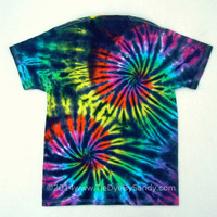 Tie Dye Shirt- Medium Inverted Rainbow Double Spiral- Black Rainbow Tie-Dye TShirt