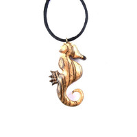 Wooden Pendant, Seahorse Pendant, Seahorse Necklace, Wooden Jewelry, Hand Carved Pendant, Wood Necklace, Wooden Seahorse, Wood Jewelry