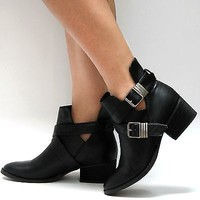 New Womens BBR Black Buckle Cut Out Cowboy Ankle Boots  Booties sz 6 to 11