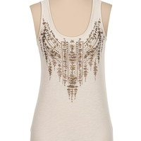 Stud Embellished Metallic Screen Print Tank