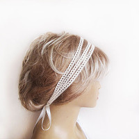 Lace Wedding Headband, Lace Bridal Head Piece, Triple Lace Bridal Headband, Weddings Hair, Bridal Hair Accessories