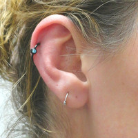 Black Hoop Cartilage Earring with Clear Crystal