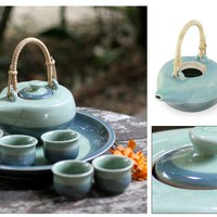 Celadon ceramic tea set - Mae Ping River (set for 5) - NOVICA
