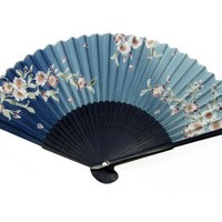 Japanese Design Silk Handheld Folding Fan, Blu Shades w/Plum Flowers HF-236