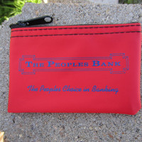 90s Red Texas The People's Bank Change Purse // Vintage Wallet // Small Bank Bag // Zipper Billfold