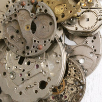 Vintage & Antique Watch Movement Lot - 25 Clock Pieces for Parts, Jewelry Making Steampunk Supplies Destash - Elgin, Westfield