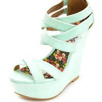 CRISSCROSSING STRAPPY PLATFORM WEDGE SANDALS