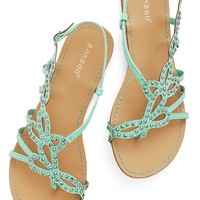 ModCloth Pastel That Girly Glimmer Sandal in Mint