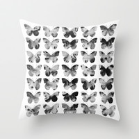 Butterflies Watercolor (black and white) Throw Pillow by Jacqueline Maldonado