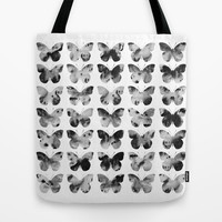 Butterflies Watercolor (black and white) Tote Bag by Jacqueline Maldonado