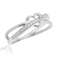 1/10 CT. T.W. Diamond Heart Split Shank Promise Ring in 10K White Gold - View All Rings - Zales