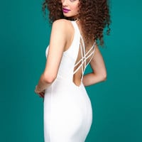 IVORY STRAPPY BACK DRESS