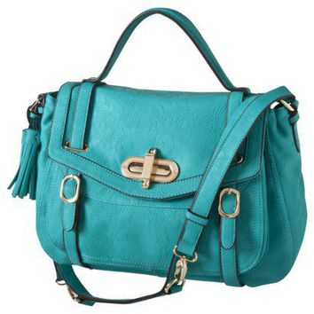 Urban Expressions Turn-Lock Flap Satchel - Turquoise