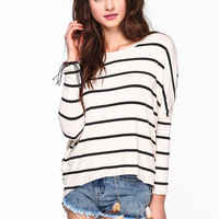 STRIPED SLIT DOLMAN TEE