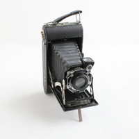 Antique Kodak Junior Six-20 Series II Camera - Vintage 1930s Black Art Deco Folding Accordion 620 Roll Film Camera