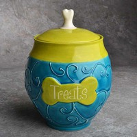 Ceramic Dog Treat Jar by symmetricalpottery on Etsy