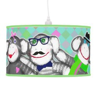 Hipster Sock Monkey Friends Pendant Lamp