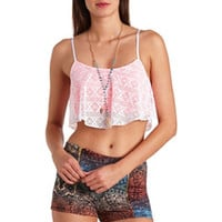 Crochet Flounce Crop Top by Charlotte Russe - Neon