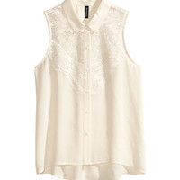 H&M - Sleeveless Blouse - Natural white - Ladies