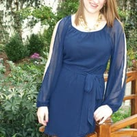 Navy Dress With Sheer Cut Out Sleeves and Cut Out Back