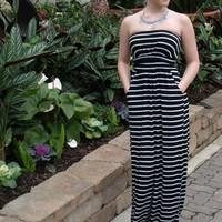 Black and White Stripe Strapless Maxi Dress