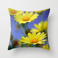 Yellow Daisies Blues Throw Pillow by RichCaspian