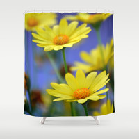 Yellow Daisies Blues Shower Curtain by RichCaspian