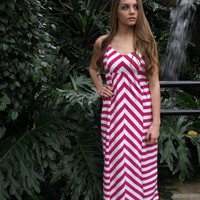 Pink and White Stripe Maxi Dress
