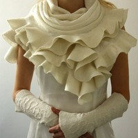 Elegant White Ruffle nuno felted shawl  Handmade silk by JurgitaMi