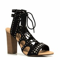 Pyramid Studded Lace-Up Heels