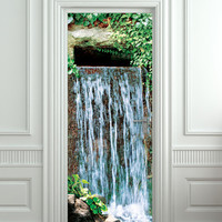 "Door STICKER waterfall landscape cataract water mural decole film self-adhesive poster 30x79""(77x200 cm) /"