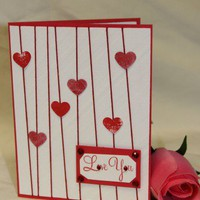Handmade Card - Anniversary, Love, Birthday - Red Hearts with Rhinestones | foreversmemories - Cards on ArtFire
